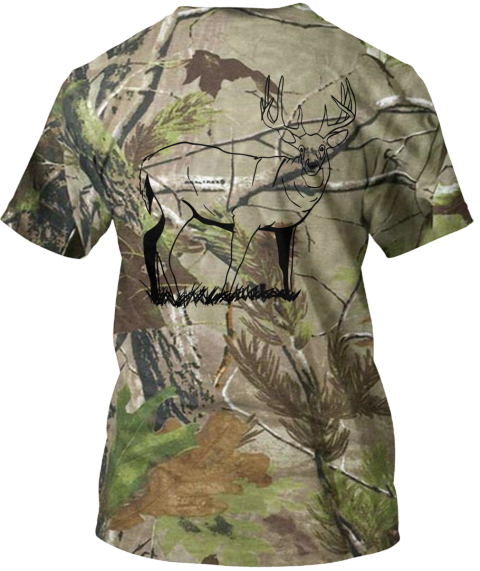 Camo Deer Camouflage T-Shirt Back