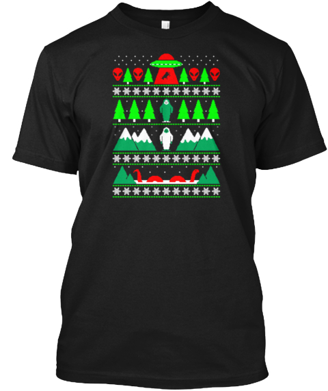 Paranormal Christmas Black T-Shirt Front