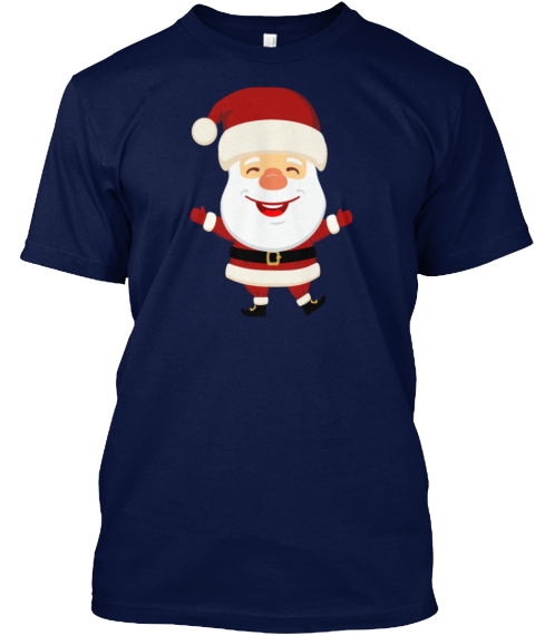 Santa Claus Marry Christmas Day New Year Navy T-Shirt Front