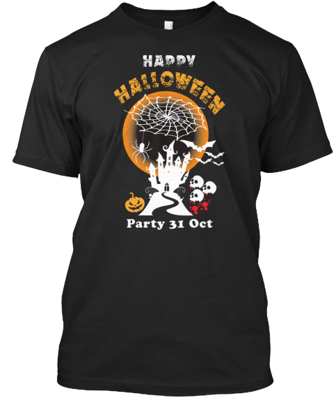 happy halloween party 31st oct black t shirt front - Cool Happy Halloween Pictures