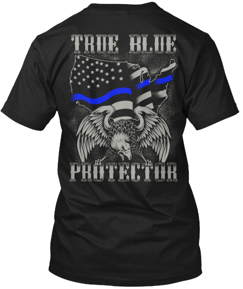 True Blue Protector Black T-Shirt Back