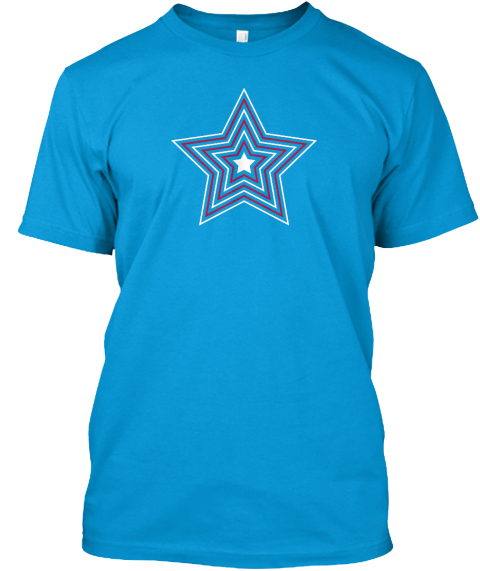 Hypnotizing Star Logo: Top Quality Tee Teal T-Shirt Front