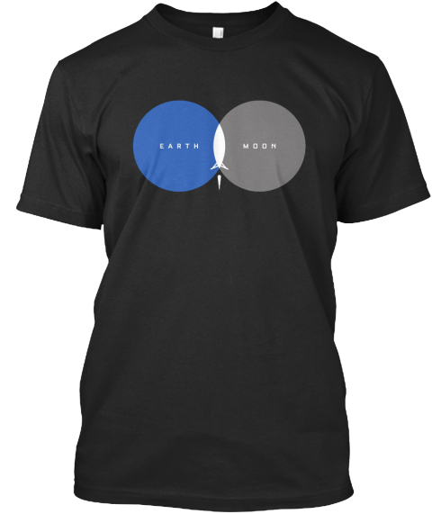 Earth Moon  Black T-Shirt Front