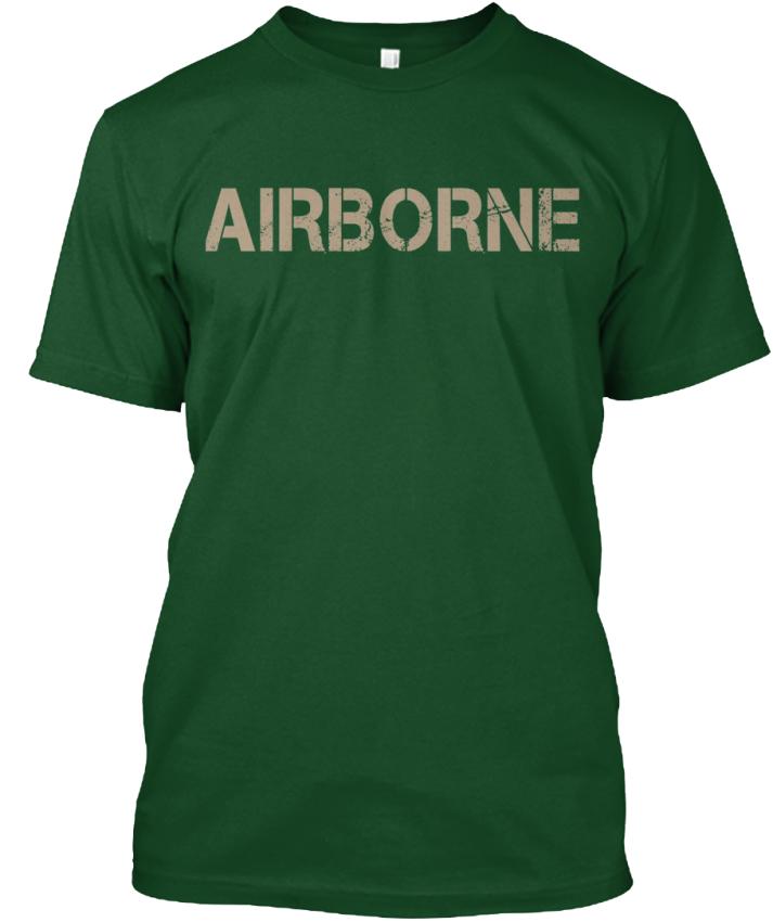Airborne-Hanes-Tagless-Tee-T-Shirt thumbnail 6