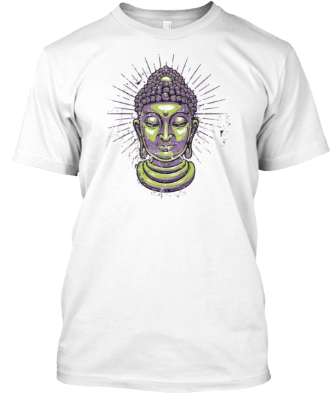 Funny Meditation White T-Shirt Front
