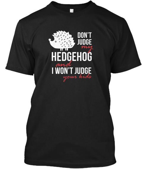 Don't Judge My Hedgehog And I Won't Judge Your Kids Black T-Shirt Front