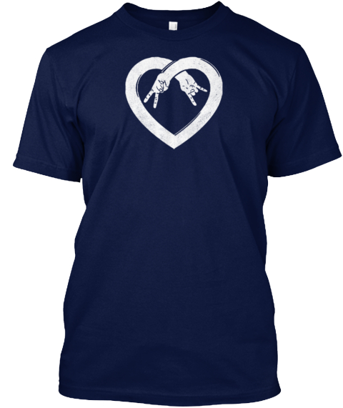 Peace Love Rock And Roll Navy T-Shirt Front