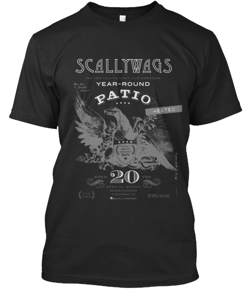 Scallywags Year   Round Patio Heated 20 Black T-Shirt Front