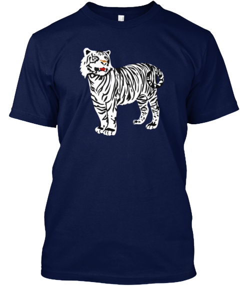 White Tiger Animal Navy T-Shirt Front
