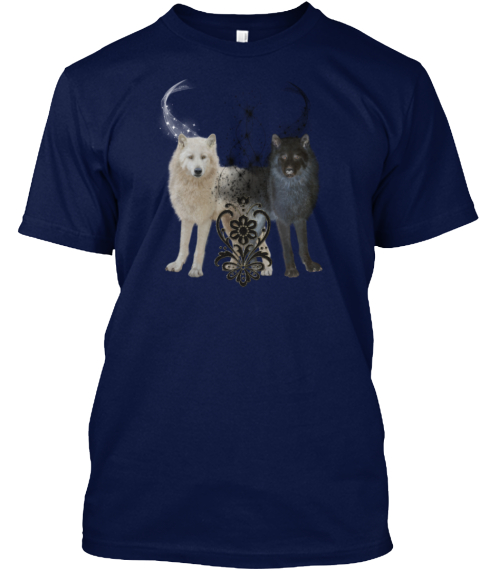 Wonderful White And Black Wolf Navy T-Shirt Front