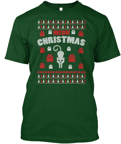 meow christmas forest green t shirt front - Cheap Christmas Shirts