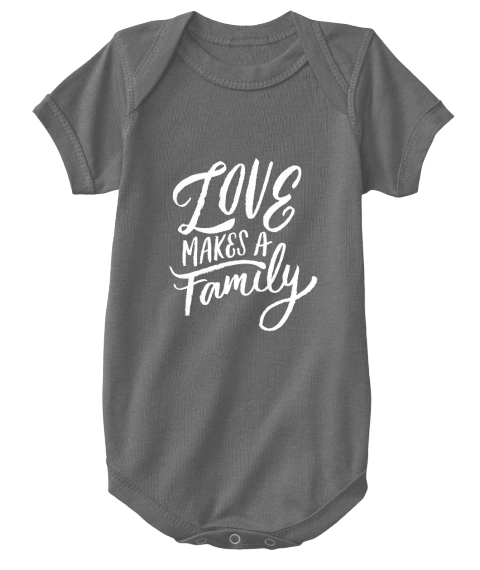 Love Makes A Family Charcoal T-Shirt Front