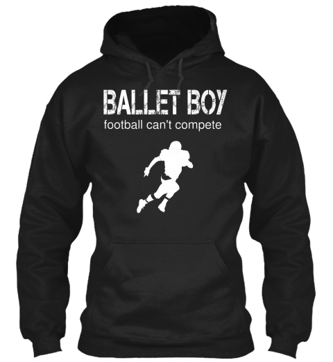 Ballet Boy Football Can't Compete Black T-Shirt Front