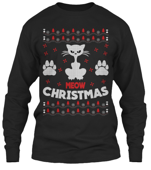 mens ugly christmas sweaters from cheap ugly christmas meow christmas black long sleeve t shirt front - Cheap Mens Ugly Christmas Sweater