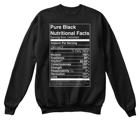 Pure Black Nutritional Facts Serving Size Unlimited Amount Per Serving Cakories 0 % Daily Value Mealanin 100%... Black T-Shirt Front