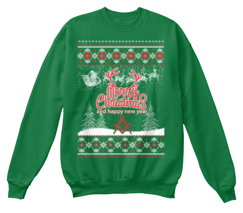 Merry Christmas And Happy New Year Kelly Green  Sweatshirt Front