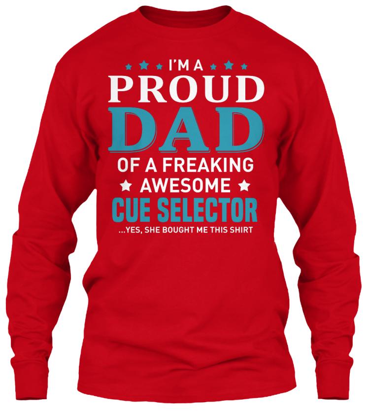 Machine-washable-Cue-Selector-I-039-m-A-Proud-Dad-Gildan-Long-Sleeve-Tee-T-Shirt miniatura 9
