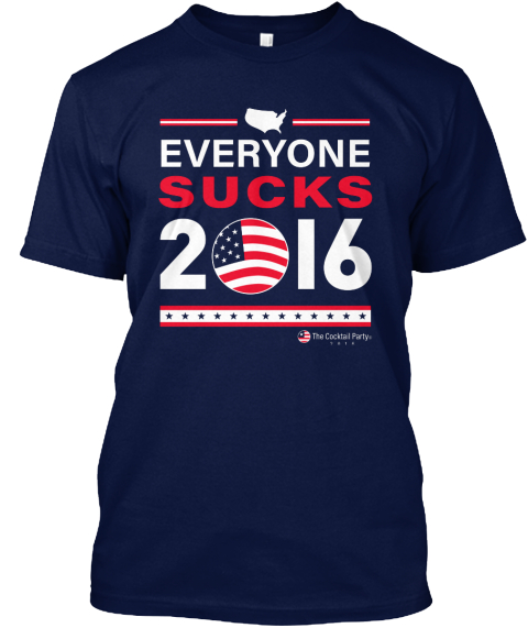 Everyone Sucks 2016 The Cocktail Party Navy T-Shirt Front