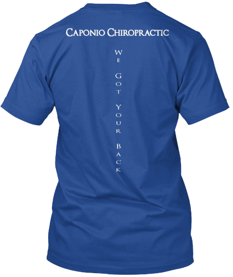 Caponio Chiropractic We Got Your Back Deep Royal T-Shirt Back