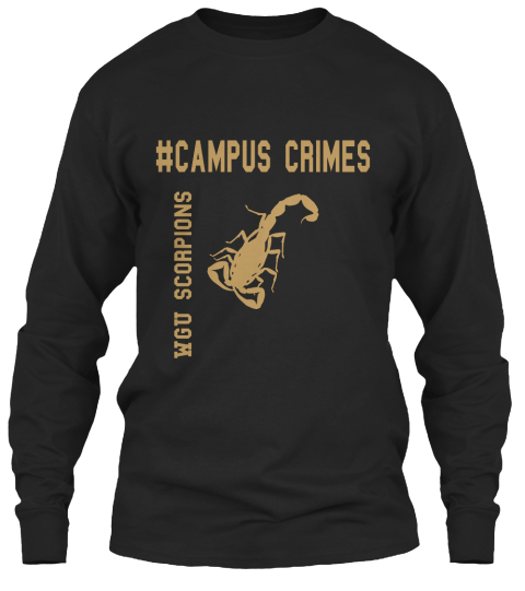 #Campus Crimes Wgu Scorpions Black Long Sleeve T-Shirt Front