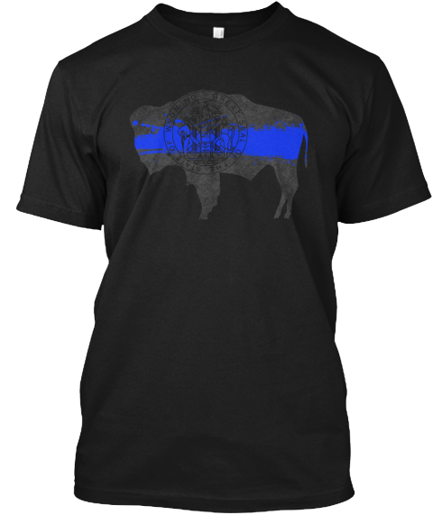 Wyoming Blue Line Onyx Black T-Shirt Front