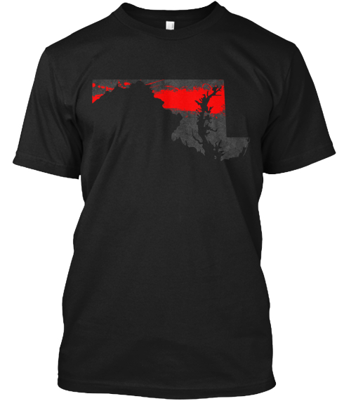 Maryland Red Line Onyx Black T-Shirt Front