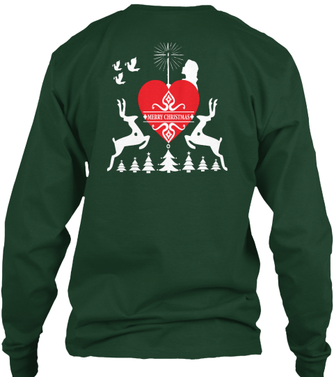 Merry Christmas Forest Green Long Sleeve T-Shirt Back