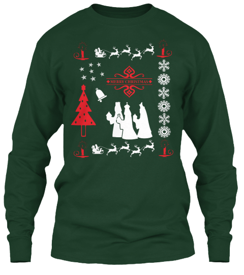 Christmas Day Special|Custom Design ! Forest Green Long Sleeve T-Shirt Front