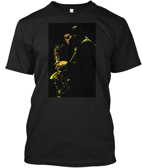 Cool Jazz Sax Black T-Shirt Front