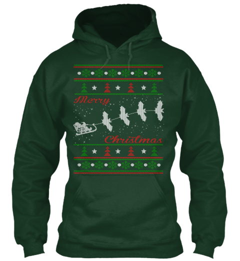 Merry Christmas Forest Green Camiseta Front