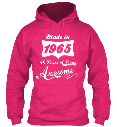 Made In 1965 49 Years Of Being Awesome Heliconia Camiseta Front