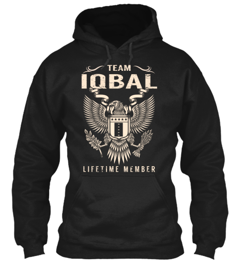 Team Iqbal Lifetime Member Black Sweatshirt Front