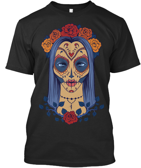 The Sugar Skull  Black T-Shirt Front