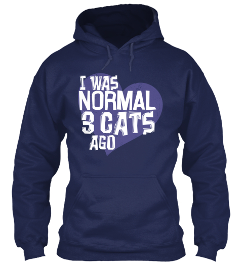 I Was Normal 3 Cats Ago Navy Sweatshirt Front