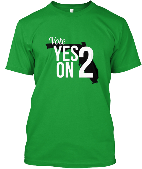 Vote Yes On 2 Kelly Green T-Shirt Front