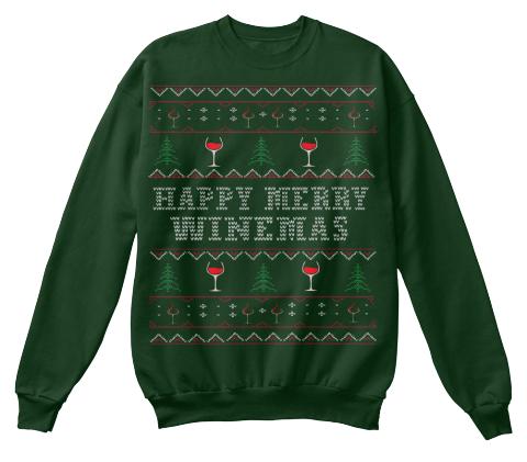 happy merry winemas deep forest sweatshirt front
