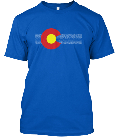 Html5 Colorado Flag Shirt Royal T-Shirt Front