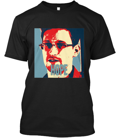 Edward Snowden Obama Hope T Shirt Black T-Shirt Front