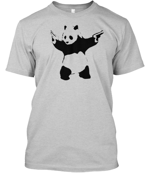 Limited Edition Banksy Panda T Shirt Light Steel T-Shirt Front
