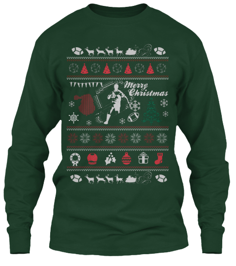 merry christmas forest green long sleeve t shirt front