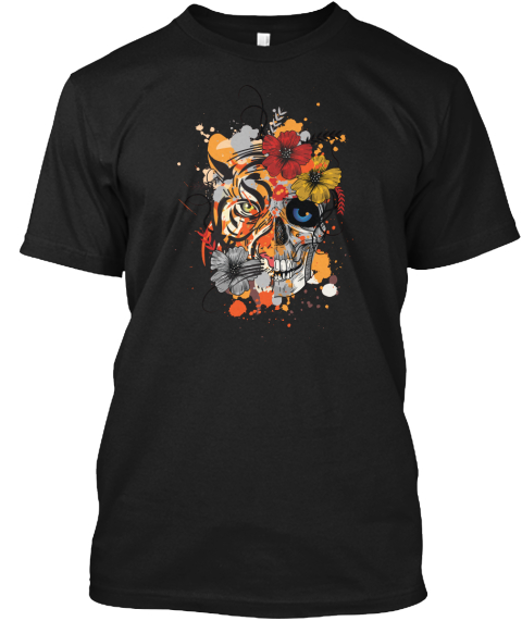 Tiger And Skull  Black T-Shirt Front