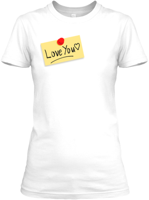 Love You Sticker White Women's T-Shirt Front