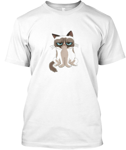 Grumpy Cat White T-Shirt Front