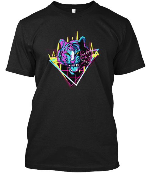 Neon Tiger  Black T-Shirt Front