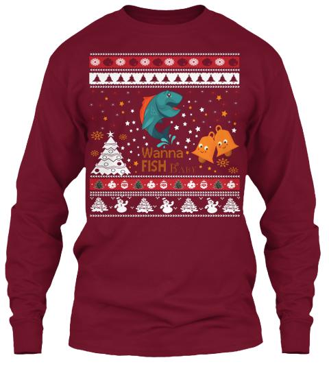 Wanna fish baby ugly christmas sweater wanna fish baby for Fishing christmas sweater