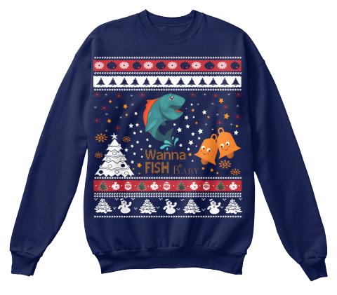 Wanna fish baby ugly christmas sweater wanna fish baby for Fishing ugly christmas sweater