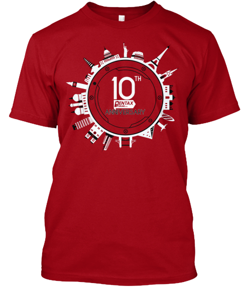 10th Pentax Anniversary Deep Red T-Shirt Front