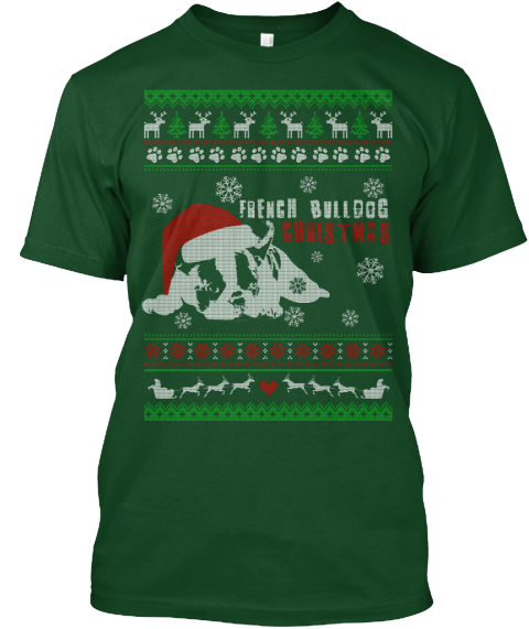 french bull dog christmas deep forest t shirt front