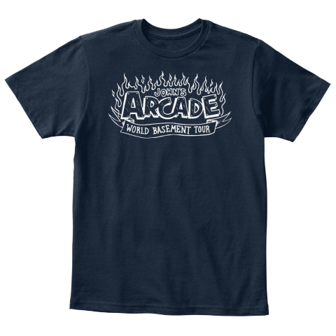 John's Arcade World Basement Tour New Navy T-Shirt Front