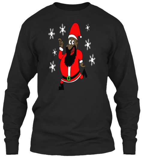 Dancing Black Santa Claus Black Long Sleeve T-Shirt Front